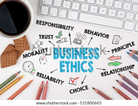Business Ethics concept. On the table a coffee mug and a computer keyboard #531800605
