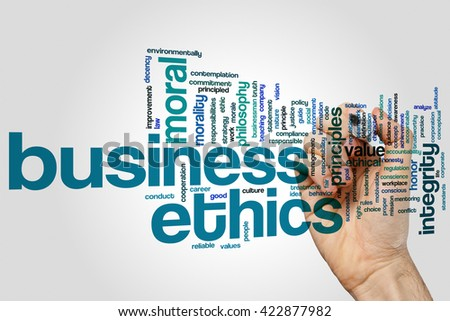 Business ethics concept word cloud background