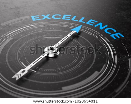 Business Excellence concept - Compass needle pointing Excellence word. 3d rendering