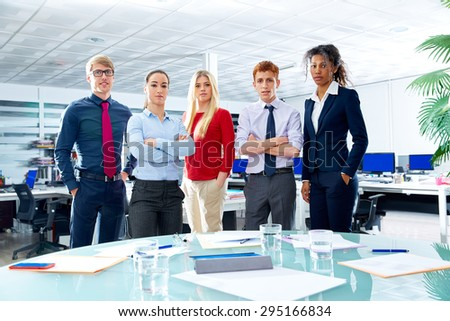 Business executive team youg people standing at office