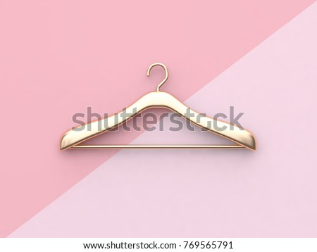 business fashion concept gold cloth hanger minimal pink background 3d rendering