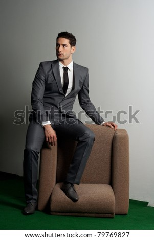 business fashion concept.Suit and fashion concept.Young and attractive male model.