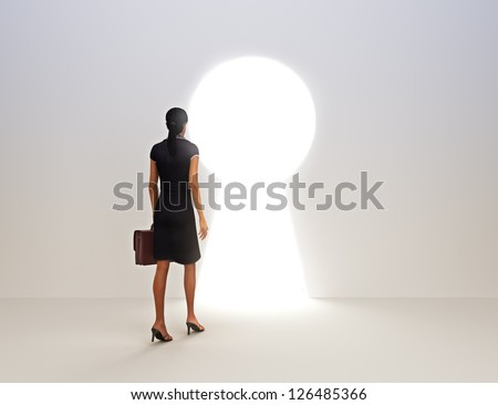 Business female key to success concept