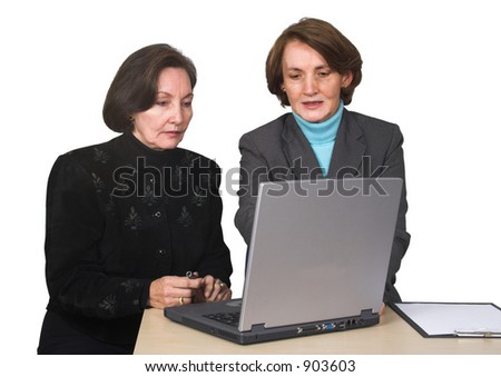 business female team with laptop over a white background