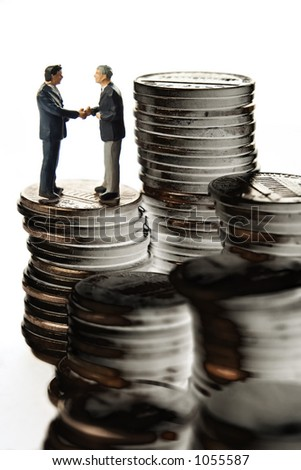 Business figure with coins