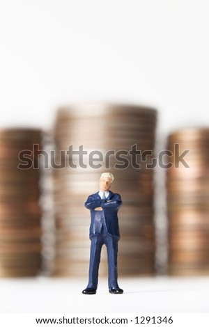 Business figure with money