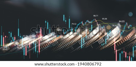 Business finance and investment, world economic growth concept. Forex financial graph chart, market report on cash currency with copy space for business and finance background ストックフォト ©