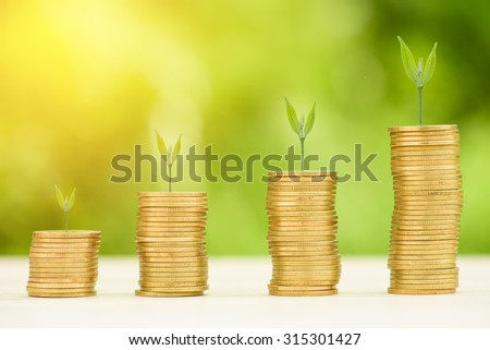 Business Finance and Money concept, Money Gold coin stack growing graph with green bokeh background,Trees growing on gold coin