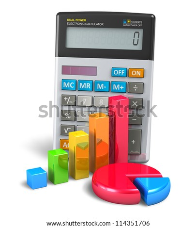 Business finance, banking and accounting concept: office calculator, colorful bar graph and color pie chart isolated on white background