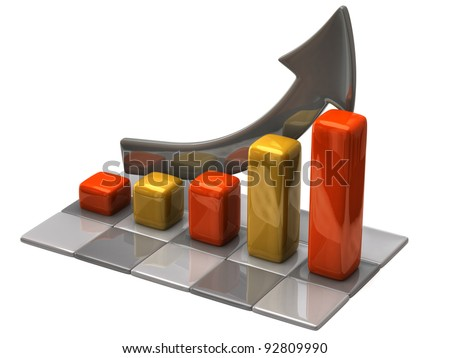 Business finance chart on white background