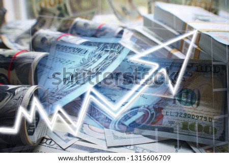 Business & Finance With Money & Stock Graph  #1315606709