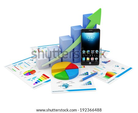 Business Financial Analytics Concept. Business Graph, Pie Chart, Touchscreen Smartphone and Financial Reports isolated on white background