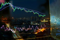 business financial chart or stock graph chart with ema and rsi indicators on laptop monitor, stock market graph in bear market and down trend and city night view on background