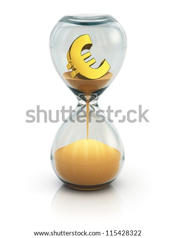 "Business financial concept ""Time is money"": vintage hourglass with golden Euro symbol inside and flowing sand isolated on white background with reflection effect"