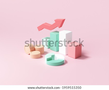 Business financial management, plan and growing strategy concept. 3d render illustration