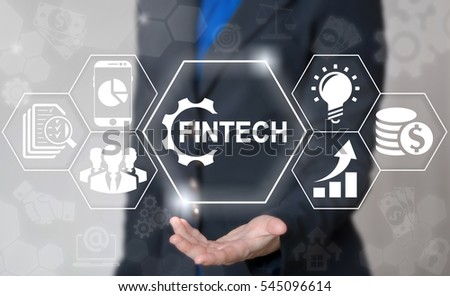 Business fintech gear web computer financial concept. Finance technology banking smart phone money trade exchange internet computing