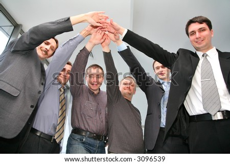 business friends with hands