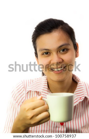 Business girl holding cup of coffee