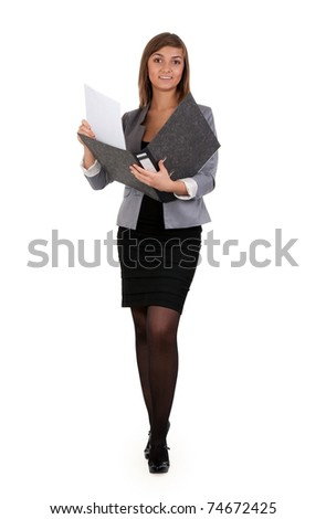 business girl with a open office folder isolated on white background