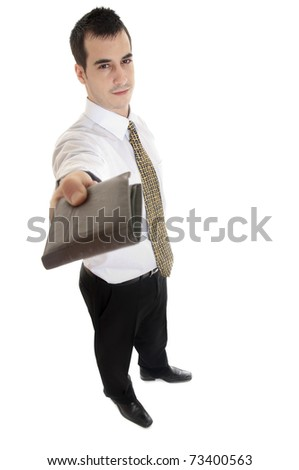 Business give wallet on white background