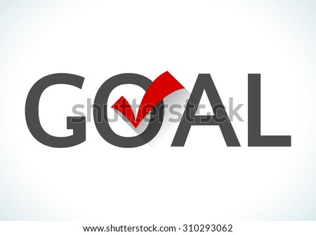 Business goal concept. Goal icon with red check mark on white background. Design ideas achieve execute goals and objectives.