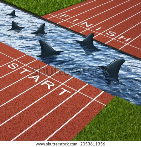 Business goal danger as an obstacle or barrier with a track divided by water infested with sharks as a metaphor for conquering adversity and strategy planning problems with 3D illustration elements. Foto stock ©