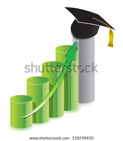 business graduation graph concept illustration design over white