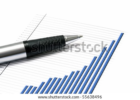 Business graph and a pen