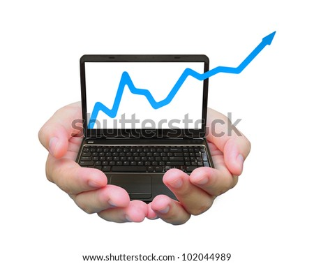 business graph and laptop PC on women hand