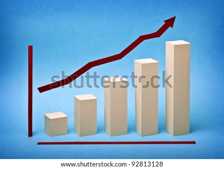 Business graph chart growth made ??out of paper