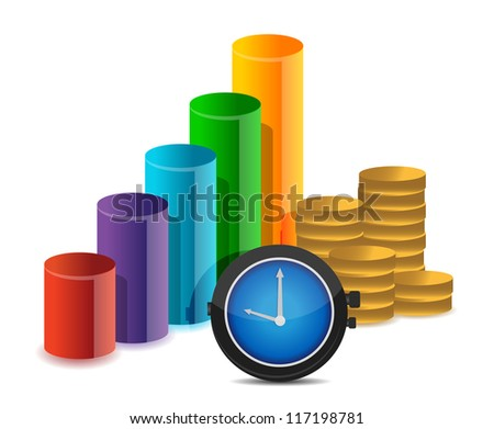 business graph coins and watch illustration design over white