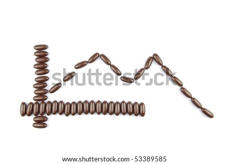 business graph concept for world crisis with chocolate candies (isolated on white background)