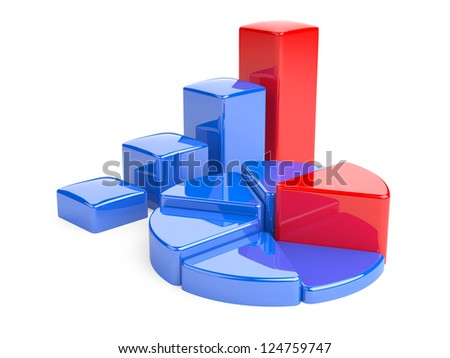 Business Graph. 3D illustration, analysis and development of business.