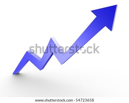Business Graph, 3d rendered conceptual arrow chart