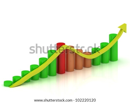 Business graph: fluctuations in growth and reduction of the arrow