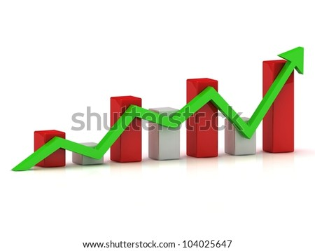 Business graph: fluctuations in growth and reduction of the green arrow