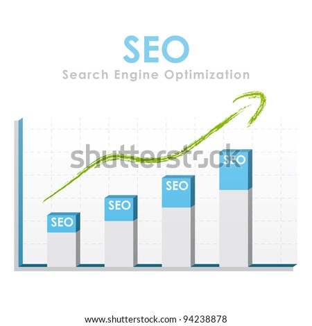 Business graph for seo with a green arrow going up