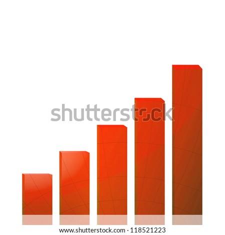 Business graph growth orange arrow