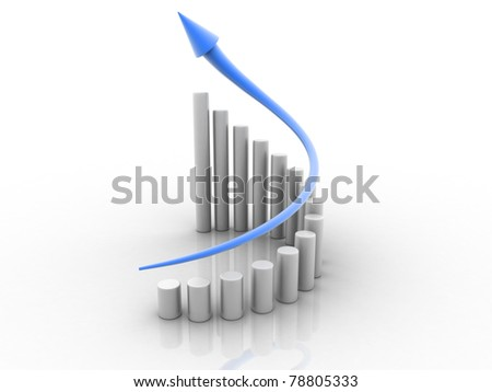 business graph isolated on white background