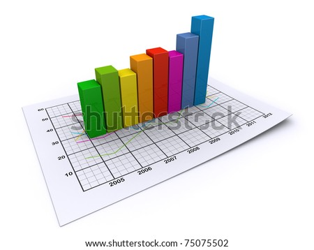 business graph on a paper sheet