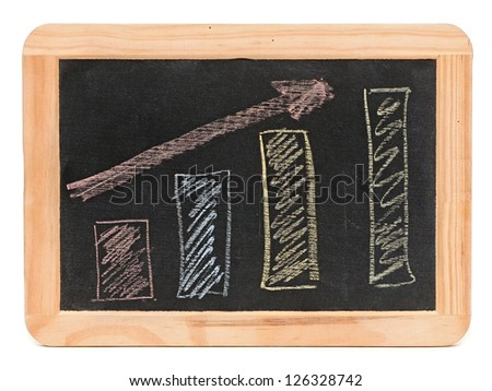Business graph on a small blackboard
