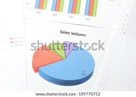 Business graph printed on the white paper