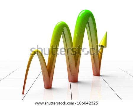 Business Graph showing profits and gains 3D rendering - stock photo