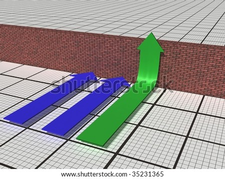 Business graph with arrow showing movement and barrier