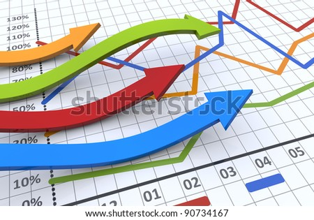 Business graph with arrow showing profits