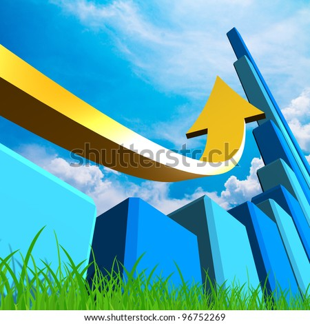 Business Graph with arrow showing profits on blue sky