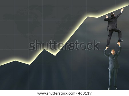business graph with business man pushing it up