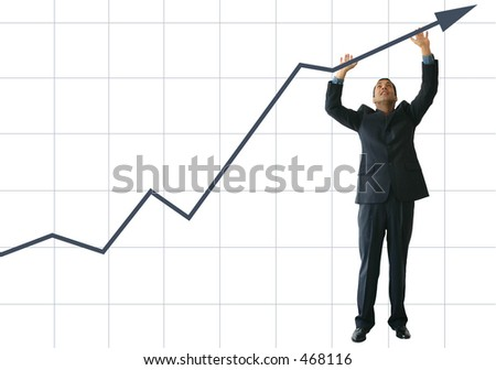 business graph with business man pushing it up - JE
