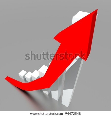 Business graph with going up red arrow metaphor a business conceptual.