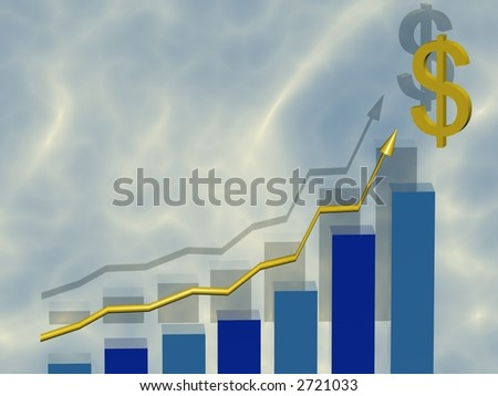 Business Graph with gold arrow showing profits